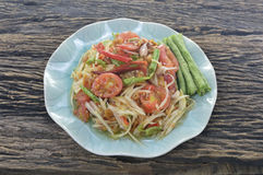 泰国番木瓜的沙拉 免版税库存图片