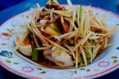 泰国番木瓜的沙拉 免版税库存照片