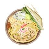 泰国的垫或混乱油煎了面条包裹用煎蛋卷 向量例证