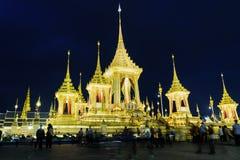 泰国的普密蓬・阿杜德国王嗯的皇家火葬场在晚上 库存照片