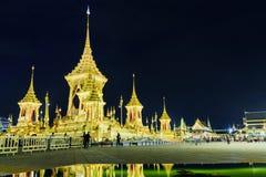 泰国的普密蓬・阿杜德国王嗯的皇家火葬场在晚上 免版税库存图片