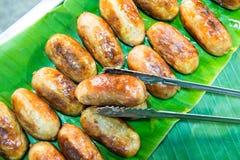 从泰国的格栅香肠 免版税库存图片