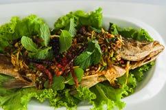 泰国的泰国加工好的沙拉鱼 免版税库存照片