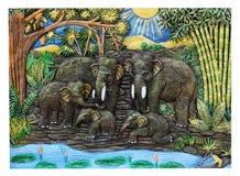 泰国的绘画大象的 免版税库存照片