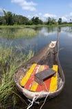泰国的Aiopg小船地方小船在盐水湖 免版税库存图片