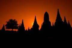 泰国的Ayudhaya古庙在黎明 库存图片