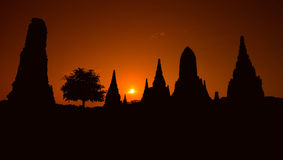 泰国的Ayudhaya古庙在黎明 免版税库存图片