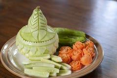 泰国盘、辣椒酱或者Nam Prik集合的被制作的菜 库存照片
