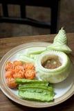 泰国盘、辣椒酱或者Nam Prik集合的被制作的菜 免版税库存照片