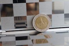 泰国硬币衡量单位是在镜子的泰铢反射钱包的10 免版税库存图片