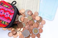 泰国硬币角钱、美元香港硬币和日元铸造 钱包和硬币在白色背景 免版税图库摄影