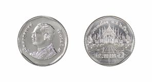 泰国硬币,五泰铢,后面和前方 库存图片