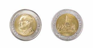 泰国硬币,十泰铢,后面和前方 库存照片