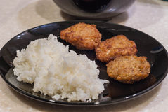 泰国米和油煎的猪肉 免版税库存照片