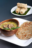 泰国绿色咖喱和开胃菜 免版税库存图片