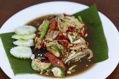 泰国绿色番木瓜沙拉,索马里兰辣胃的泰语,特写镜头 库存图片