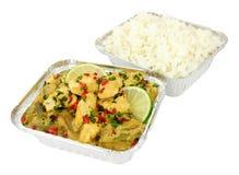 泰国绿色鸡咖喱拿走膳食 免版税库存照片