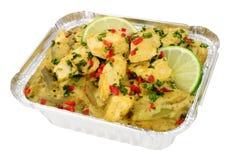 泰国绿色鸡咖喱拿走膳食 免版税库存图片