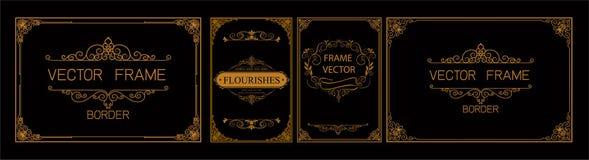 泰国艺术,金与泰国线的边界框架花卉为图片,传染媒介设计装饰样式样式 框架角落设计是p 皇族释放例证