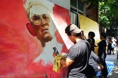 泰国艺术系学生油漆画象 免版税库存照片