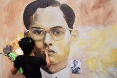 泰国艺术系学生油漆画象 图库摄影