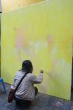 泰国艺术系学生油漆画象 库存图片