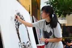 泰国艺术系学生油漆画象 免版税库存图片