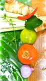 泰国草本汤另一种颜色球成份 免版税库存照片