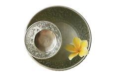 泰国葡萄酒样式银碗,被隔绝 图库摄影