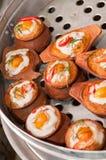 泰国蒸的用咖喱粉烹调的海鲜 库存照片