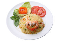 泰国虾炒饭服务 免版税图库摄影