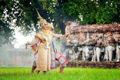 [泰国被掩没的KHON, RANAYANA] Ramaya的泰国传统舞蹈 免版税图库摄影