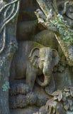 泰国被雕刻的大象 免版税库存照片