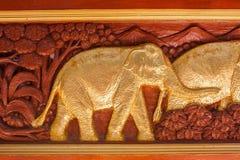 泰国被雕刻的大象 图库摄影