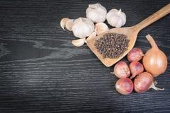 泰国调味料、干草本和香料(大蒜、青葱、葱和干胡椒) 库存图片