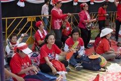 泰国资本一致的示威者 免版税图库摄影
