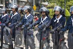 泰国资本一致的示威者 库存照片