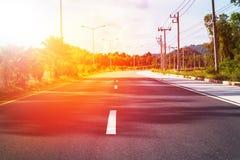 泰国路线风景汽车路标线中部 免版税库存照片