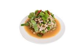 泰国辣剁碎的猪肉laab沙拉 图库摄影