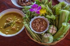 泰国辣味番茄酱和混杂的菜,泰国食物 库存照片