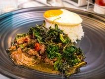 泰国辣普遍的著名食物蓬蒿牛肉炒饭食谱用被射击的鸡蛋 Kao垫Krapao Kai Dao 免版税库存图片