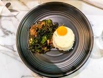 泰国辣普遍的著名食物蓬蒿牛肉炒饭食谱用被射击的鸡蛋 Kao垫Krapao Kai Dao 库存照片