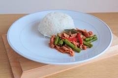 泰国辣辣椒酱混乱油煎了用猪肉和米 库存照片