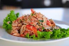 泰国辣金枪鱼色拉用葱和蕃茄 免版税库存图片