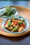泰国辣食物蓬蒿鸡 免版税图库摄影