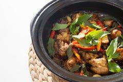 泰国辣食物,与蓬蒿的混乱炸鸡 免版税库存图片