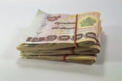 泰国金钱,在白色背景的1000泰铢钞票 库存照片
