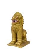 泰国金黄狮子的雕象 库存图片