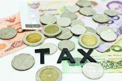 泰国钞票和硬币与词税 免版税库存图片