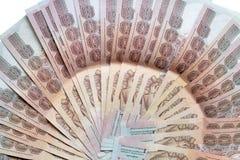 泰国钞票在集安排了 库存照片